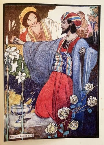 A Rare Lithographic plate illustrated by Charles Robinson  of a man taking wine c1940s