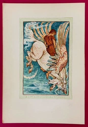 Original 1892 woodcut print of Bellerophon on Pegasus designed by Walter Crane