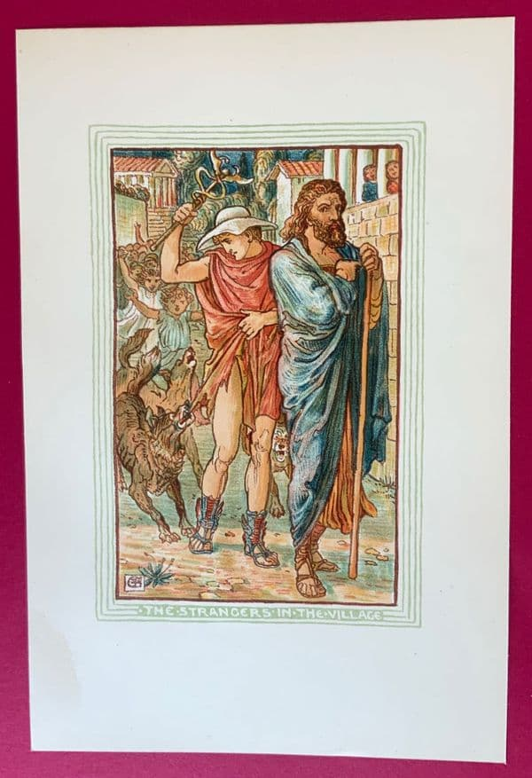 Original 1892 woodcut print of The strangers in the village designed by Walter Crane