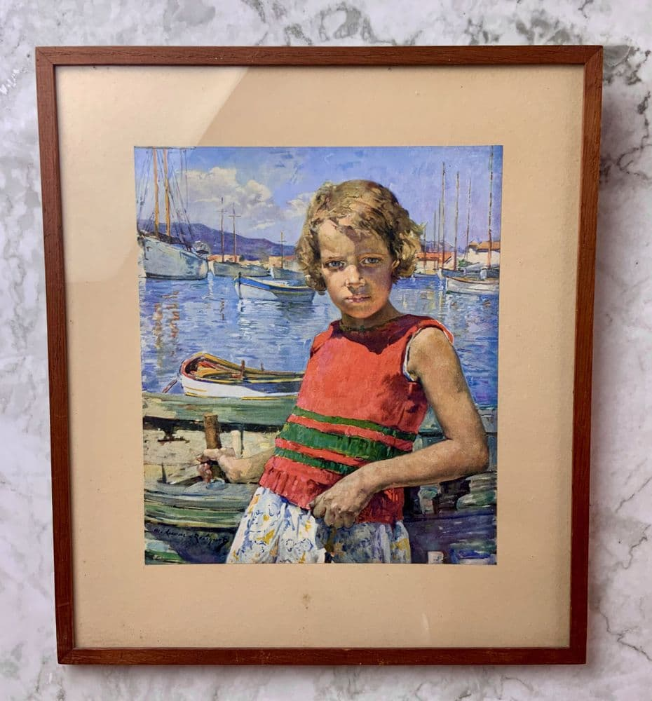 A beautiful coloured print of a young girl standing in a harbour.