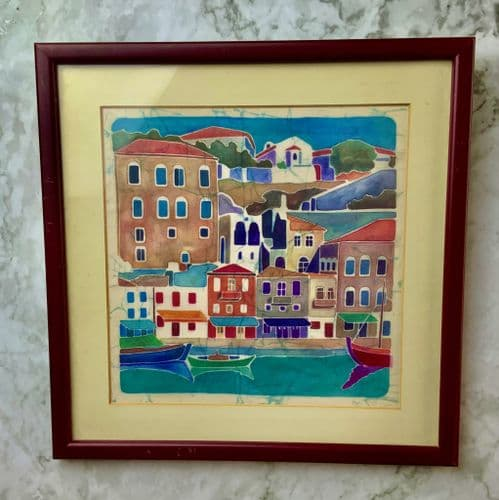 A Beautiful vibrant original Batik of a port town.