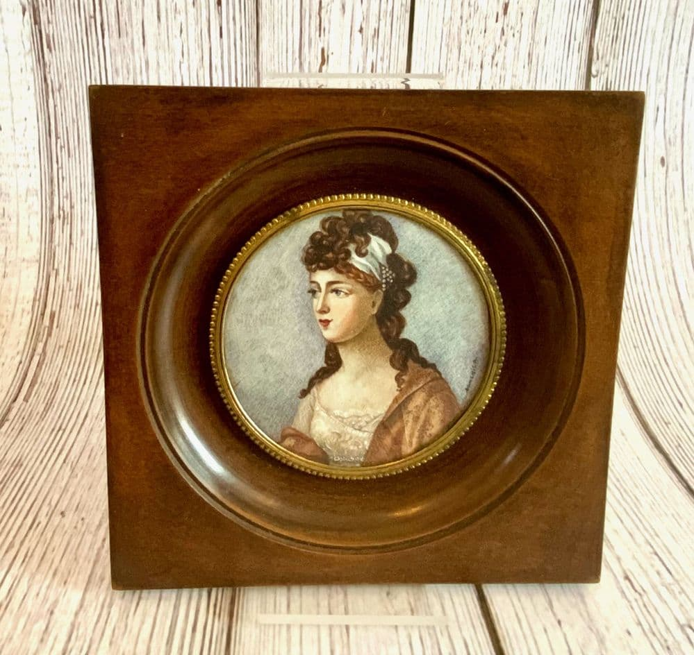A French Antique Portrait Miniature 19th Century Signed