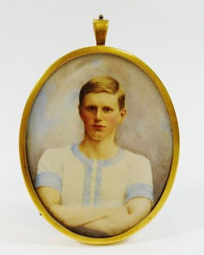 A late Victorian oval portrait miniature on ivory of a young man from Cambridge University (gold)