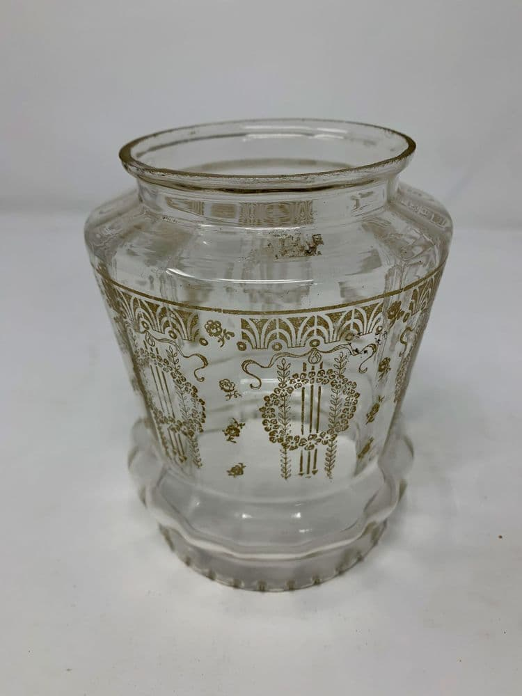 Antique glass lamp shade with golden pattern