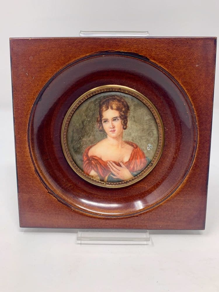 "Antique Portrait Miniature Painted ""Lady Of Quality"" IN The 18th Taste Monogrammed OB"