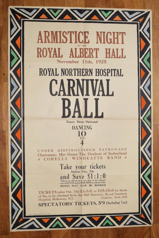 Armistice Night Ball at the Albert Hall in aid of Royal Northern Hospitals 11 November 1925.