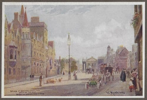 "Braod Street looking East from ""The Fifty Water Colours Drawings of Oxford"" c1900"
