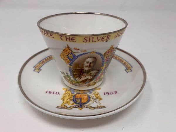 King George V – 1935 Silver Jubilee commemorative fine china cup and saucer made by Paragon.
