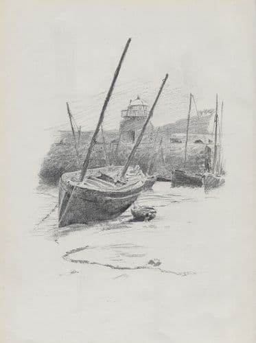 Lead-Pencil Sketch at St. Ives, Cornwall.R. Morton Nance. Lithographic Print 1898