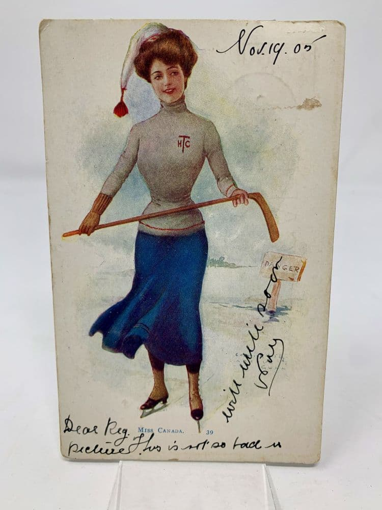 Miss Canada Antique 1905 postcard complete with stamp