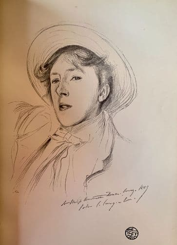Portrait Sketch of Miss Paget  by John S. Sargent, R.A., An original litho print c1900