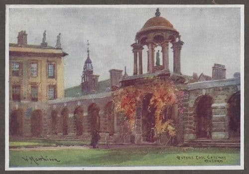 """Queen's College from """"The Fifty Water Colours Drawings of Oxford"""" c1900"""