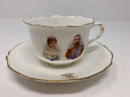 Royal Doulton King George V – 1911 Coronation china cup and saucer (slight crazing)