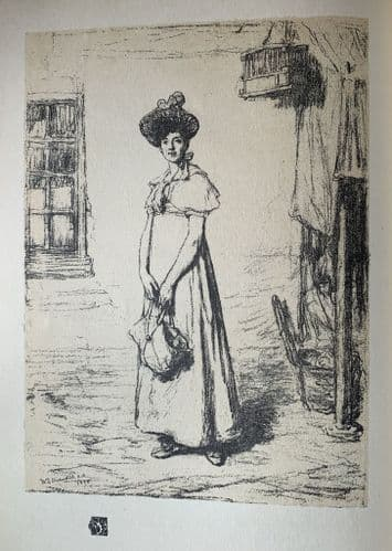 """Sketch for """"The young housewife"""" by W.Q Orchardson, R.A. An original Etching print c1910"""