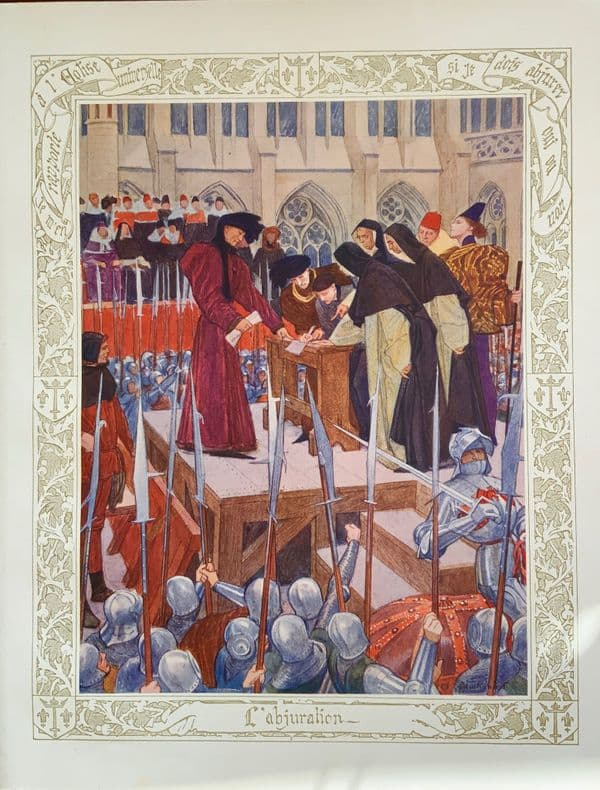 Stunning Large Original 1912 Joan of Arc French print Lithograph - L'abjuration