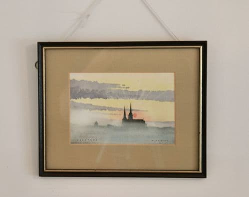 Sunset over Chartres' original framed water colour by Malolm Foster Signed