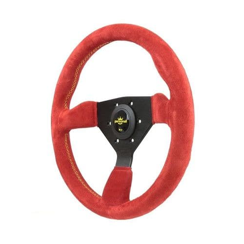 PERSONAL GRINTA RED SUEDE LEATHER STEERING WHEEL 330MM
