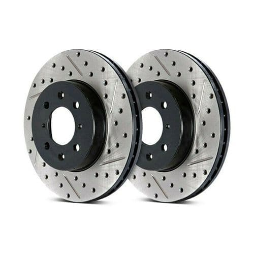 Stoptech Drilled & Slotted Brake Discs (Front Pair) Toyota Corolla (Mk6) 87-89