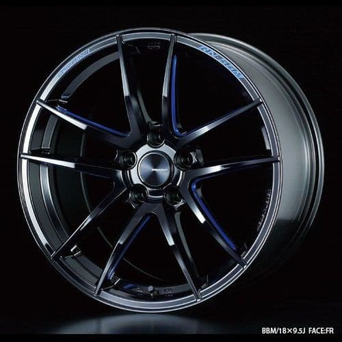 WedsSport RN-55M Alloy Wheel 18x7.5J 5X110 ET34 Blue Machining - Black Detiil
