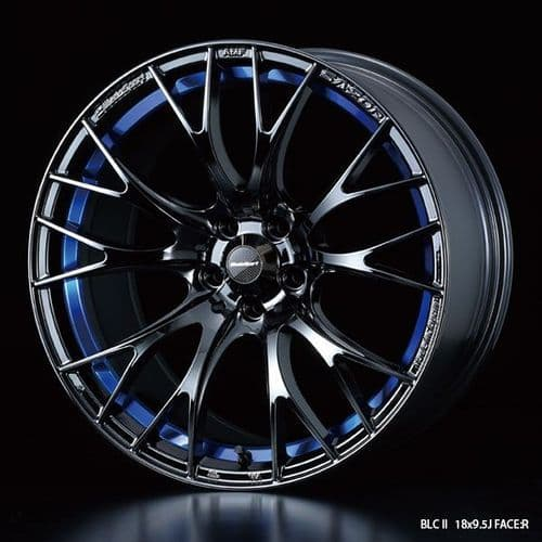 WedsSport SA-20R Alloy Wheel 18x9.5J 5X114.3 ET45 Chrome Black - Blue Detail