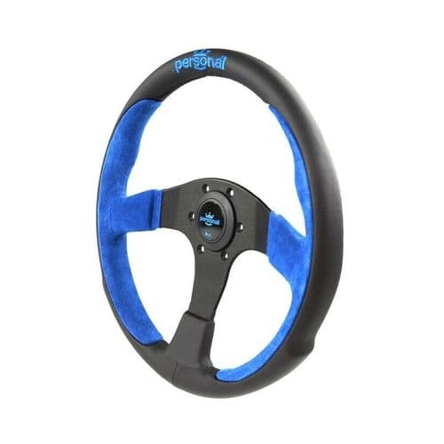 PERSONAL POLE POSITION SUEDE LEATHER STEERING WHEEL BLUE