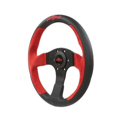 PERSONAL POLE POSITION SUEDE LEATHER STEERING WHEEL RED