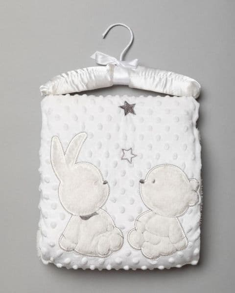 Cream Plush Rabbit & Teddy Appliqué Baby Blanket