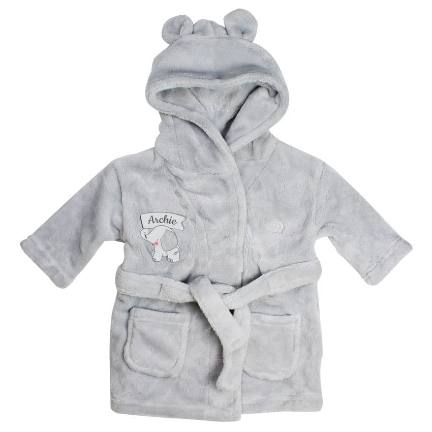 Luxury Personalised Elephant Baby Dressing Gown