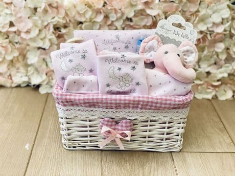 New Baby Girl Luxury Gift Hamper - Pink Welcome To The World Teddy
