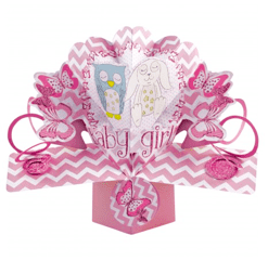 New Baby Girl Owl and Rabbit Pop-Up Card