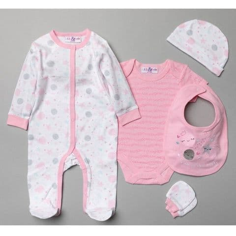 Pink Space Baby Girl Clothing Set - 5 Piece
