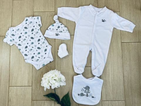 White Hedgehog  Baby Clothing Set