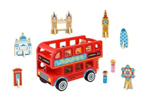 Wooden Red London Bus & Sights