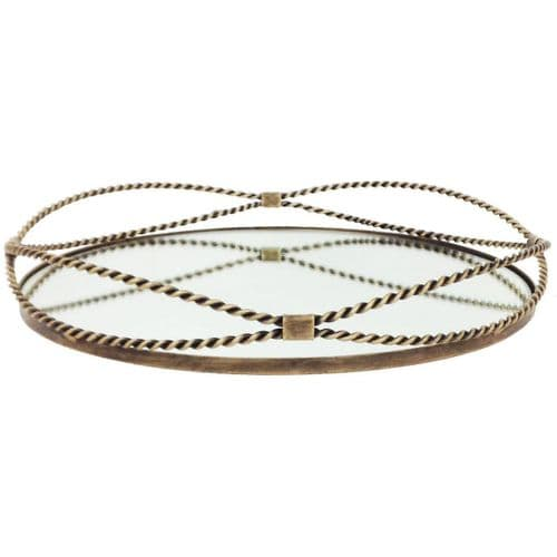 Carrick Round Gold Iron Tray With Fine Rope Detail