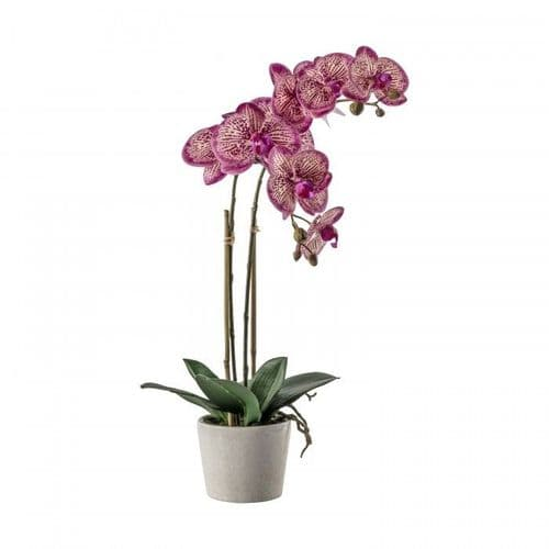 Faux Pink Orchid In A Ceramic Pot