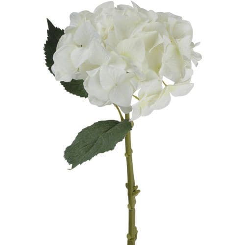 Faux White Hydrangea With Leaves 47cm