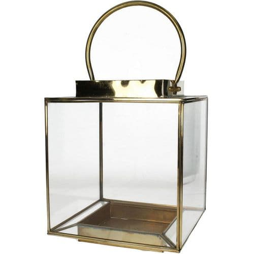 Large Glass Lantern In  Antique Gold Finish