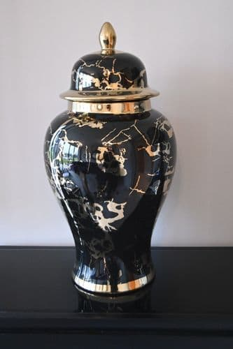 Marmo Marble Effect Black And Gold Extra Large Ceramic Jar
