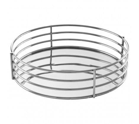 Mirrored Round Silver Tray
