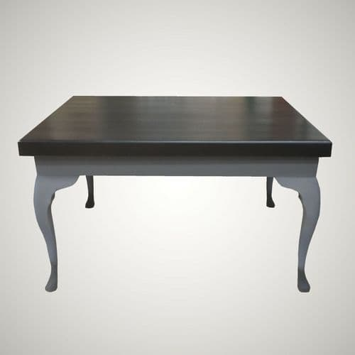 Refurbished Coffee Table with Black Beech Top & Grey Queen Anne Style Legs