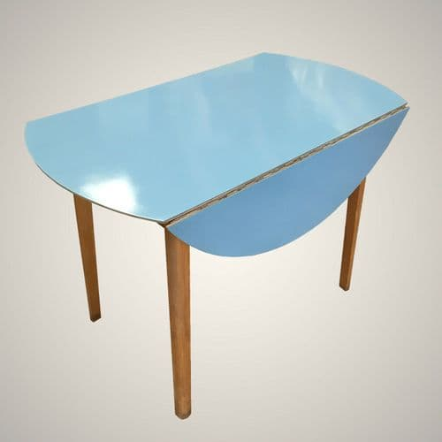 SOLD Refurbished G Plan Round Formica Topped Drop Leaf Table in Autentico Royal Blue