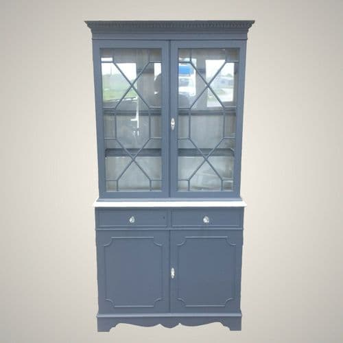 SOLD Refurbished Reedit production Display Dresser Faux Marble Top & Autentico Pavot Blue