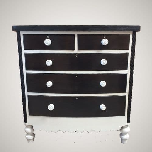SOLD Vintage Refurbished Antiqjue Bow Fronted Chest of Drawers / Painted Black & White