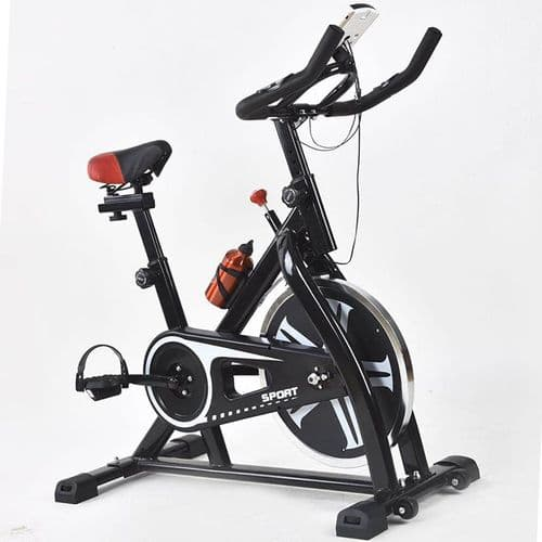 Stationary Infinite Resistance Spin Bike with Phone Holder/Heart Moniter/LCD Monitor, Smooth Belt
