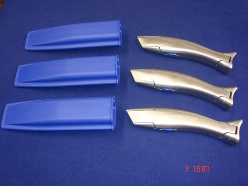 3 x Blue Marlin Dolphin Carpet Vinyl Fitters Knife Handle & Holster Work