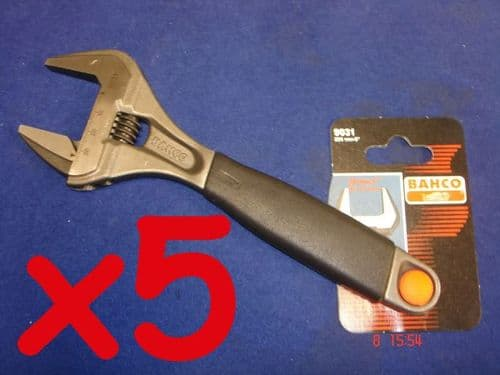 "5 x Bahco Adjustable Spanner Wrench 9031 Extra Wide Jaw 38mm 8"" 200mm"