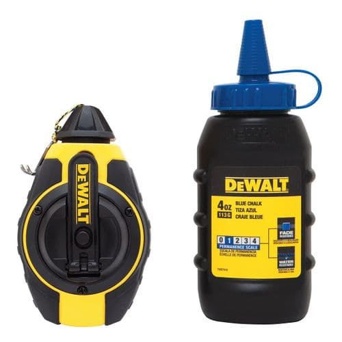 DeWalt 100ft 3:1 Chalk Line WITH 4oz 113g Blue Chalk
