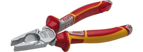 NWS 180mm Tri Combination Plier VDE Combi Electricians with Wire Cutter