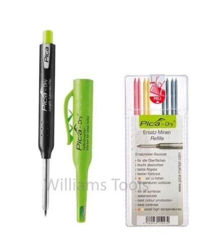 Pica Dry Graphite Automatic Pen/Pencil 3030 + 4020 REFILL Black Yellow Red pk8