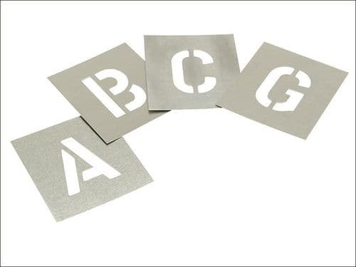 "Stencils Set of Zinc Stencils 1"" 25mm Letters A - Z in Storage Wallet"